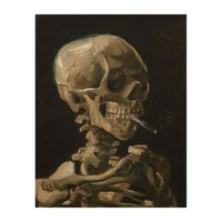 Skull with Burning Cigarette Vincent van Gogh Art Wood Wall Art