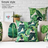 New Modern Plain Cushion Covers Linen Green Plants Throw Pillow Case Green Home Decor Plantain Ferns Monstera Sansevieria