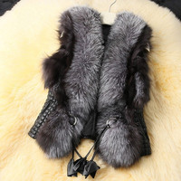2014 Autumn Spring and Winter High Imitation Faux Fox Fur Vest Gilet Outerwear Women's Coat Plus Size = 1932348932