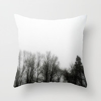 Fog, Mist, Misty, Trees, Eerie, B&W, Morning - Decorative Throw Pillow Cover, 3 Sizes Available-Home, Newlyweds, Gift - Made To Order-MMF#85