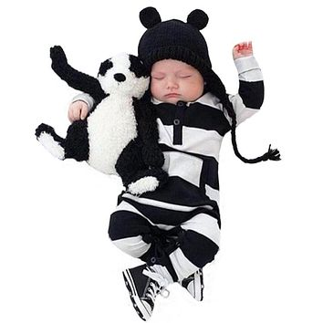 New 2018 Autumn Baby Boys Girls Rompers Unisex Cotton Long Sleeves Black and White Stripes Jumpsuit Newborn Toddler Baby Slothe