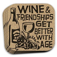 Wine & Friendships Get Better With Age - Wine Lover Coasters - Set of 4 Hostess Gift Idea