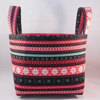 Sweater Pattern Christmas Fabric Basket With Handles