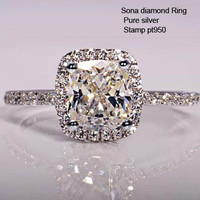 1CT Center Cushion Cut Simulated Diamond Engagement Ring with Halo! WOW! - Port City Jewelers