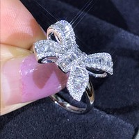 New bow tie ladder diamond ring beautiful luxury simulation diamond ring temperament female wedding ring