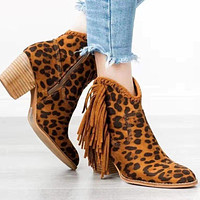 New women's thick heel tassel side zipper women short boots leopard shoes brown