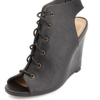 Peep Toe Lace-Up Wedges by Charlotte Russe - Black