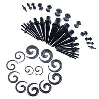 42 Pieces Gauges Kit Black Spiral Tapers and Straight Taper with Plugs 14g-00g Stretching Kit - 21 Pairs (Black)