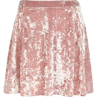 River Island Womens Light pink crushed velvet skater skirt