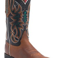 Tony Lama 3R Women's Tan with Black Austin Top Square Toe Western Boot