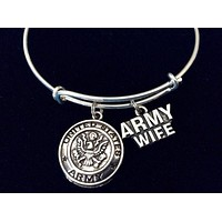 Army Wife Expandable Charm Bracelet Adjustable Expandable Wire Bangle Gift USA Military Jewelry Wedding