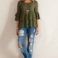 Ruffled Baby Doll Blouse - Olive