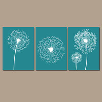 DANDELION Wall Art Flower Artwork Teal Custom Colors Modern Nursery Set of 3 Prints Decor Bedroom Bathroom Dorm Three
