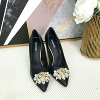 Versace Women Fashion Casual High Heels sandals Slipper Shoes Black