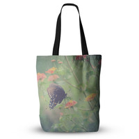 """Robin Dickinson """"Captivating II"""" Green Flower Everything Tote Bag"""