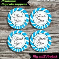 """Thank you - Cupcake toppers - Deep Sky Blue - Instant Download - Party printable - Party favor - Candy Bar - 5 cm / 2"""""""