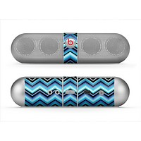 The Thin Striped Blue Layered Chevron Pattern Skin for the Beats by Dre Pill Bluetooth Speaker