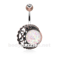 Vintage Boho Filigree Moon White Opal Belly Button Ring 14ga Navel Ring Body Jewelry