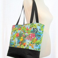 Tropical parrots travel tote or vacation shoulder bag
