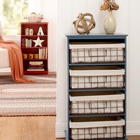 Storage Shelf Unit or Lined Metal Basket Set