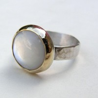 White Pearl Ring  14k gold silver White motherofpearl  by chop007