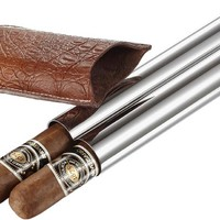 Visol Holster Stainless Steel and Brown Leather Dual Cigar Tube
