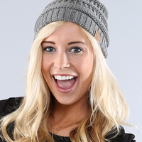Coco and Main Gray Knit Beanie | zulily