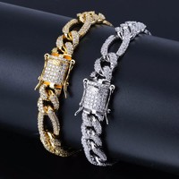 """10mm Box Lock NK Chain Bracelet For Men Hip Hop Bling Iced Out Paved Rhinestones CZ Rapper Bracelets Jewelry Gold Silver 7""""8"""""""
