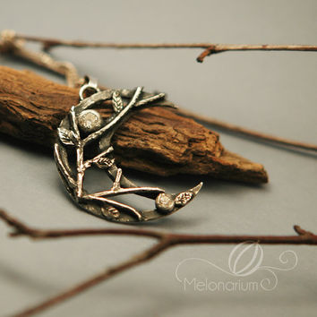 Moonlight Whispers - woodland crescent moon pendant, openwork, handmade jewelry, forest, nature inspired jewellery, witch, elven, faerie
