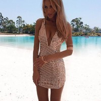 Sequins Backless Dress Party Club Dress