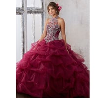Jeweled Beading on a Ruched Tulle Ball Gown Fashion Halter Off the Shoulder Burgundy Quinceanera Dresses Sweet 15 Dresses
