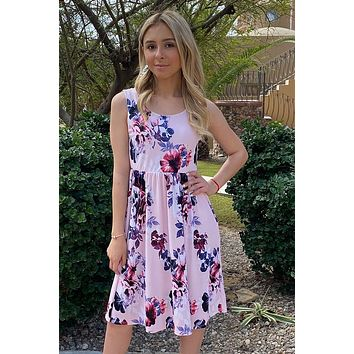 Make My Dreams Come True Pink Floral Print Midi Dress