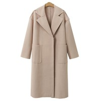 Winter and Autumn Women Jacket solid Long Sleeve Outerwear Coats  Women 2017 new Turn-down Collar Casual Ladies Long overcoat