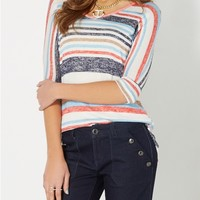 Navy Mixed Striped Dolman Top