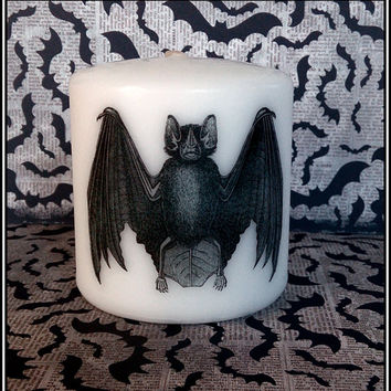 Bat Small Pillar Candle Goth Animal Spooky Creepy