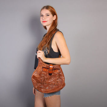 70s Boho LEATHER PURSE / Slouchy Brown PATCHWORK Hippie Bag