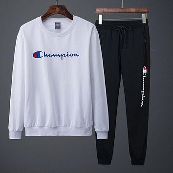 Champion autumn and winter models casual tide brand couple sports two-piece suit White