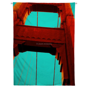 Golden Gate Hanging Wall Tapestry. Home Decor, Dorm, California, Apartment Decor, Urban, City, Architecture, Bridge, Red Headboard Tapestry