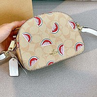 COACH Fashion Women Shopping Bag Leather Cute Watermelon Print Satchel Crossbody Shoulder Bag