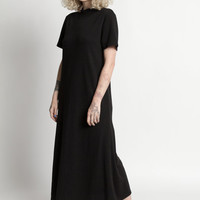 Vintage 90s Black Knit Short Sleeve Turtleneck Maxi Dress | M/L