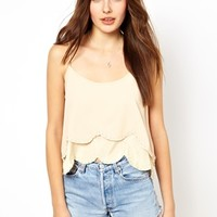 Costa Blanca Scallop Crop Top with Beading