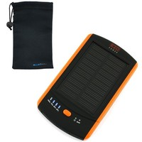 EZOPower Orange 2-Port Solar External Backup Battery Portable Charger 6000mAh + Microfiber Pouch Battery Case for Samsung Galaxy Note 3 2, Galaxy Mega 6.3 and Other Android Cell Phone, Window Smartphone, Mobile Phone and more