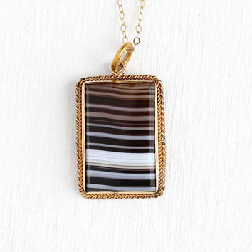 Banded Agate Necklace - Victorian Era Gold Filled Brown White Beige Genuine Gemstone Fob - 1890s Statement Pendant Rectangular Gem Jewelry