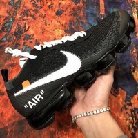 OFF WHITE x Nike Air VaporMax Popular Women Men Breathable Air Cushion Sport Running Shoes Sneakers Black
