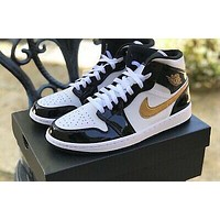 Air Jordan 1 Mid'Black/Gold/White' lace-up sports basketball shoes