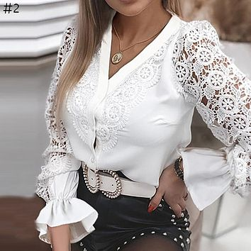 Sexy Lace Patchwork Hollow Out Shirt Fashion White Vintage Long Sleeve Tops Button Mesh Crochet Lace Blouse Women
