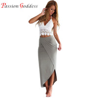 Women's Sexy 2 piece Set 2016 Summer Plus Size Women Lace Crop Tank Top and Slim Long Skirt Suits Casual Women Party Clothing
