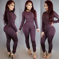 Sheer Mesh Bodycon Jumpsuit Women Long Sleeve See Through Patchwork Pearl Sexy Overalls Pants Romper Night Party Club Jumpsuits