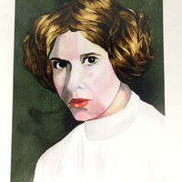 Princess Leia Star Wars Watercolor Portrait Artist Print, Carrie Fisher A New Hope Ink Painting Art Prints, Artists Rendering of Leia