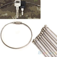 10PCS Stainless Steel Wire Keychain Cable Key Ring for Outdoor Hiking Camping = 1651449796